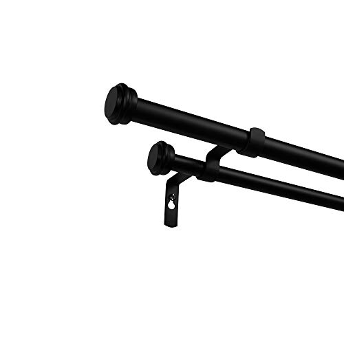 """Exclusive Home Curtains ER1025-04 66120 Topper Double Curtain Rod and Finial Set, 66""""-120"""", Matte Black"""