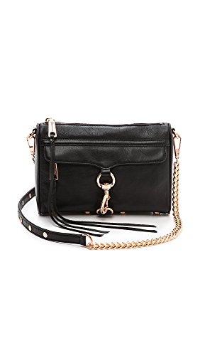 Rebecca Minkoff Mini sac à main convertible en bandoulière, noir (Noir/or rose.), Taille unique