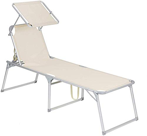 Ldoons Sun Lounger, Sunbed, Large Reclining Sun Chair, Load Capacity 150 kg, 65 x 200 x 48 cm, with Reclining Backrest, Sunshade, Foldable, for Garden, Balcony, Terrace, Beige