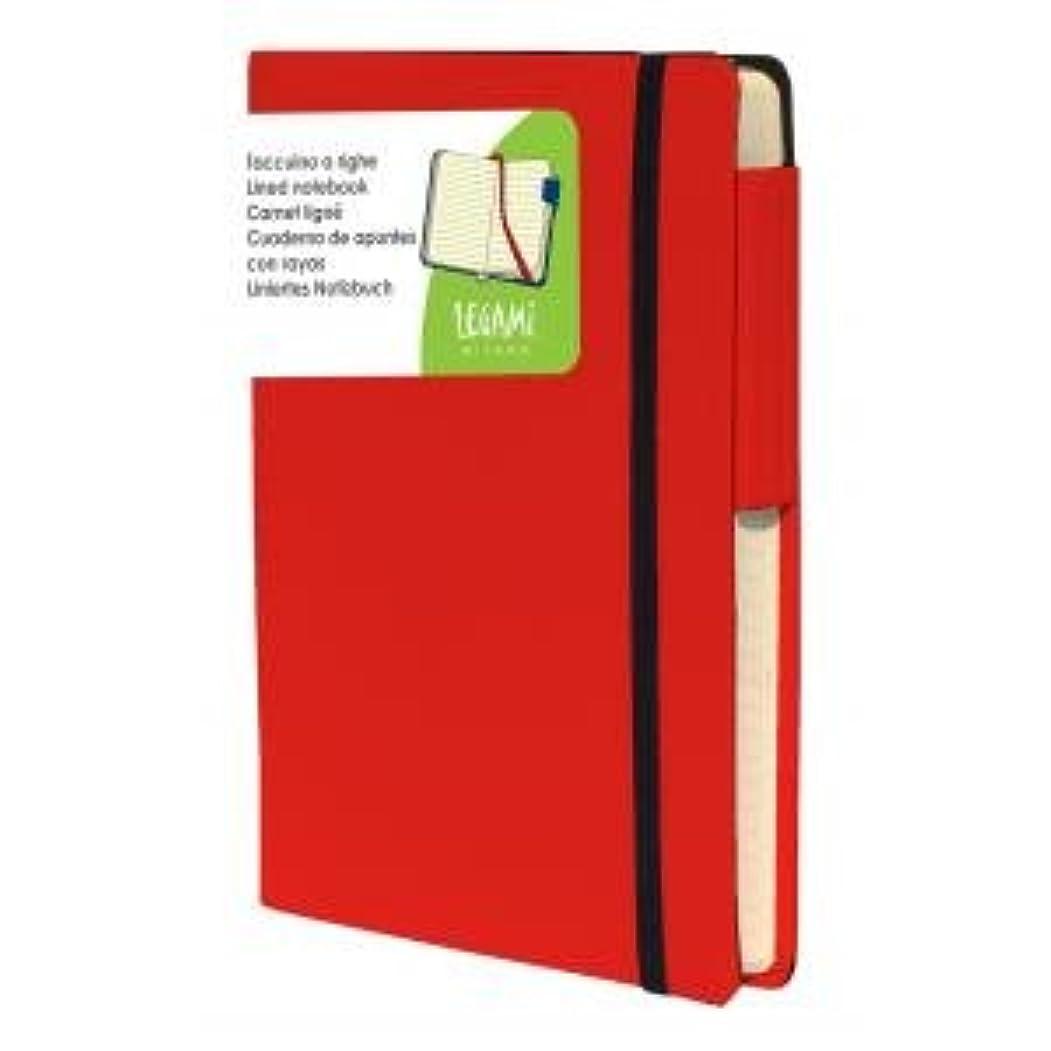 【LEGAMi】 イタリア製ノートブック 横線 (レッド)