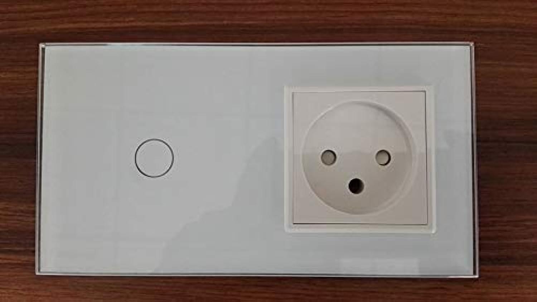 EU Standard + Israel Power Socket, White Crystal Glass Panel, AC 100250V 16A Wall Power Socket, (color  White)