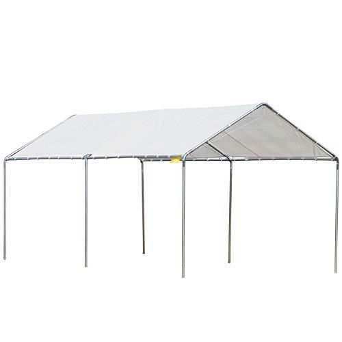 Outsunny 3m x 6m Heavy Duty Carport Garage Car Shelter Galvanized Steel Outdoor Open Canopy Tent Water UV Resistant Waterproof