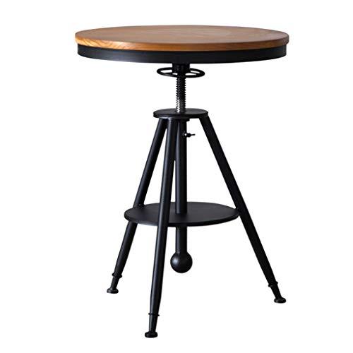 Tavolo tondo regolabile, tavolo da cucina, legno di pino a grana chiara, robusta struttura in metallo, adatto per bar, caffetterie, marrone industriale, altezza regolabile: 65-90 cm (26-35 pollici)