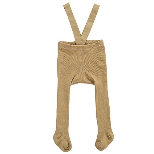 Infant Toddler Baby Girl's Suspender Pantyhose Solid Ribbed High Waist Bandage Overall Legging Stocking Sock (Khaki, 1-2 Years)