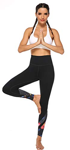 JOYSPELS Women's High Waisted Gym Leggings - Workout Running Sports Printed Leggings Yoga Pants Womens with Pockets - BlackSky - M