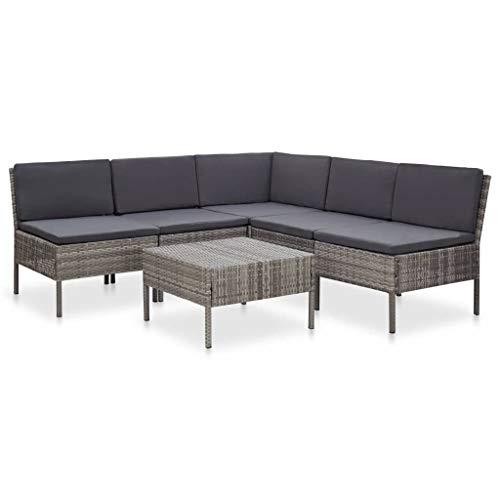 vidaXL Set de Muebles de Jardín 6 Piezas y Cojines Patio Terraza Conjunto Casa Exterior Comedor Aire Libre Mesa Silla Asientos Ratán Sintético Gris