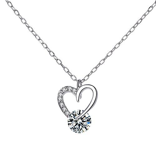 Rfgthp S925 Collar de Plata Hembra en Diamantes Amor Simple Moda Temperamento Zircon en Forma de corazón Cadena de clavícula joyería Femenina