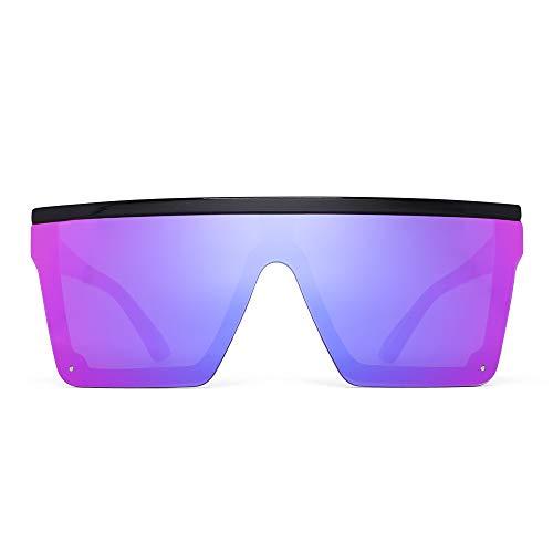 JIM HALO Gafas de Sol con Protección Superior Plana Gafas Cuadradas sin Montura con Espejo Para Mujeres y Hombres (Montura Negra/Lente Púrpura Espejada)