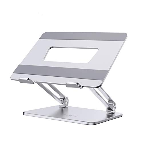 【Japan Design 2020】Euppom Laptop Stand, Aluminum Macbook Stand Sturdy Ergonomic Adjustable Height Air Circulation Portable Notebook Stand Foldable (11-17') Fits For MacBook Pro/Retina/Air & Others