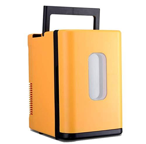 YQDSY Refrigerador de Automóviles 10L Frigorífico Pequeño/Caja de Alenamiento Fría Y Caliente, Casa Y Coche Dual Uso (220V / 12V), Amarillo/Azul/Blanco, Amarillo congelador rápi