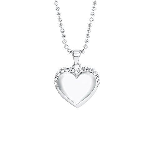 NOELANI Damen-Halskette mit Herz-Anhänger rhodiniert mit Kristallen von Swarovski