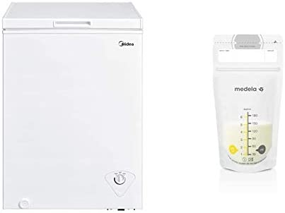 Midea MRC04M3AWW Single Door Chest Freezer 3 5 Cubic Feet White Medela Breast Milk Storage Bags product image