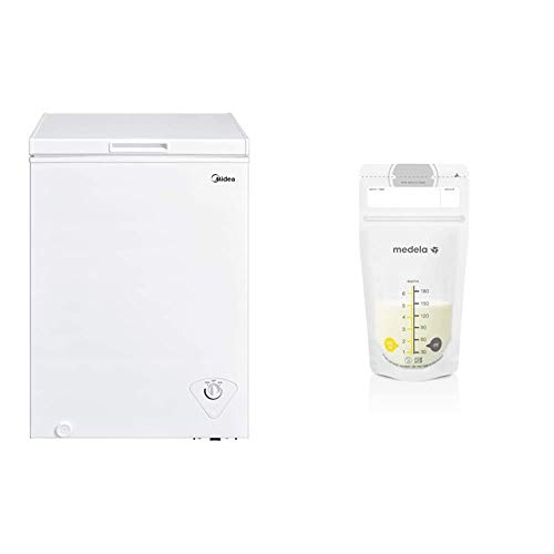 Midea MRC04M3AWW Single Door Chest Freezer, 3.5 Cubic Feet, White & Medela Breast Milk Storage Bags, 100 Count, Ready to Use Breastmilk Bags for Breastfeeding, 6 Ounce