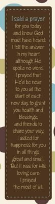 Sunday School Teachers' Bookmark-I Said A Prayer For You (Pack Of 10)