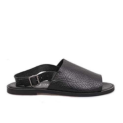 Felmini - Zapatos para Mujer - Enamorarse com Carol B834 - Sandalias Planas - Cuero Genuino - Negro