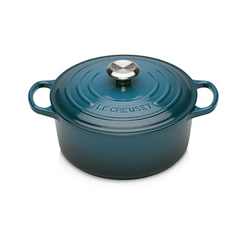 Le Creuset Evolution Cocotte de hierro fundido con tapa, Redonda, Pomo de acero inoxidable, ⌀ 24 cm, 4,2 L, Azul Deep Teal,21177246422430