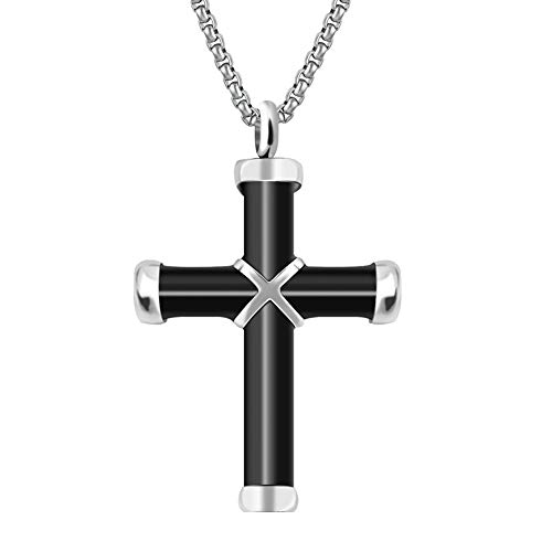 Dletay Cremation Jewelry for Ashes Urn Necklace Memorial Pendant Keepsake Jewelry(Black)