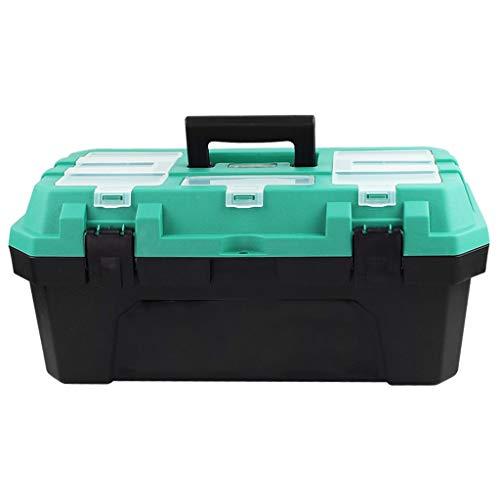 Verktygslåda Plast verktygslåda med bricka multifunktion stor kapacitet dubbelskikt verktygslåda för hemmet verktygslagring (14 tum / 17 tum / 19 tum) Verktygslåda av plast (Size : S)