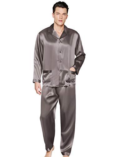 ElleSilk 100{72be475e8eae8e0b0f4d7df2120dcc08a878be586afb9175ca328c8451645c96} Seide Pyjama für Herren, Luxuriös Schlafanzug, 22 Momme, Kohlengrau, S