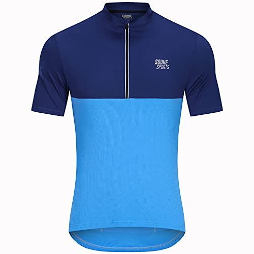 Souke Sports Men's Cycling Jerseys Bike Shirt Short Sleeve Cycling Tops for Men with 3 Rear Pockets Blue