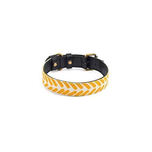 Makasih Dog Collar perro piel cebra – Collar para perros de piel curtida vegetal negro – con lienzo impreso amarillo y blanco