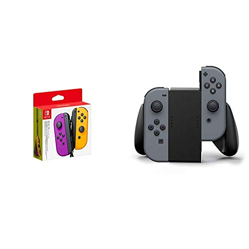 Nintendo Paire de Manettes Joy-Con Gauche Violet Néon/Droite Orange Néon & Poignée de confort pour Joy-Con Nintendo Switch - Noir