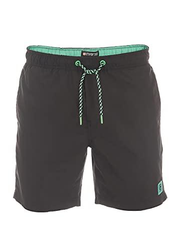 riverso RivDavid - Bañador corto para hombre, 100% poliéster, color negro, azul, rojo, verde, S, M, L, XL, XXL, 3XL, 4XL, 5XL Negro y verde (24000) S