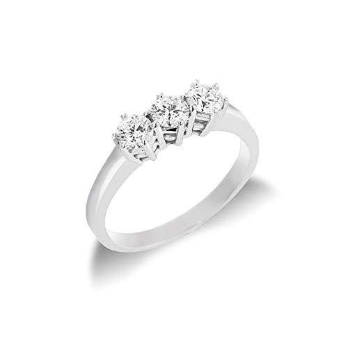 Gioielli di Valenza - Anello Trilogy in Oro bianco 18k con Diamanti ct. 0,60 - TR03060BB - 16