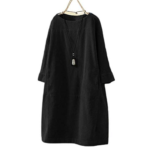 2021 Summer Women Midi Dresses Vintage Pockets Corduroy Solid Femme Vestidos Casuais Long Sleeve Loose Casual Female Dress #T3G