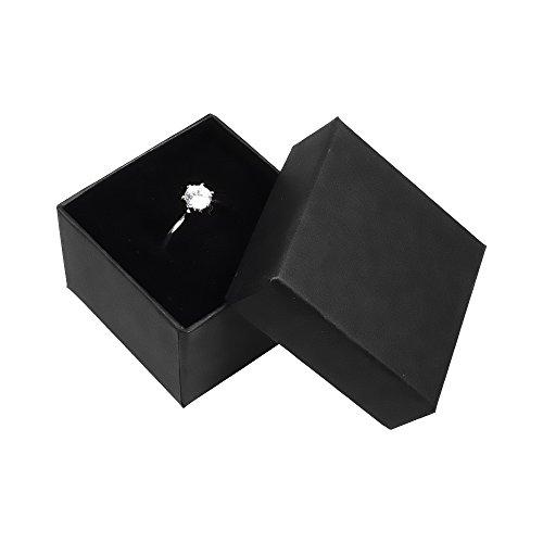 Autiga Hochwertige Ring-Schachtel Ringbox für Hochzeit/Valentinstag/Verlobungsring schwarz