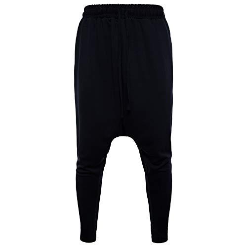 Elonglin Homme Sport De Jogging De Sport Pantalons Jogging Pantalon Chino Sarouel Cordon de Serrage Baggy Style Pants Noir Taille FR 50 (Asie S)