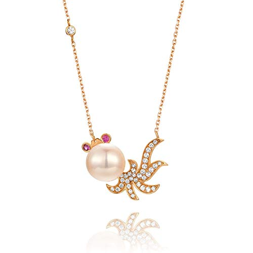 Dreamdge 18K Rose Gold Necklace Butterfly Pearl Enamel Long Necklaces for Women, 0.043ct White Ruby Pendant Necklace