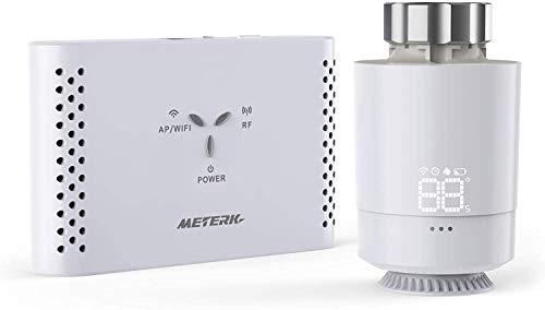 Smartes Heizkörperthermostat Kit, Meterk Programmierbarer automatischer Thermostat mit Gateway, Intelligente Sprachsteuerung Und Taktspeicherfunktion, SASWELL SEA802DF, SASWG-04-WIFI (TY)
