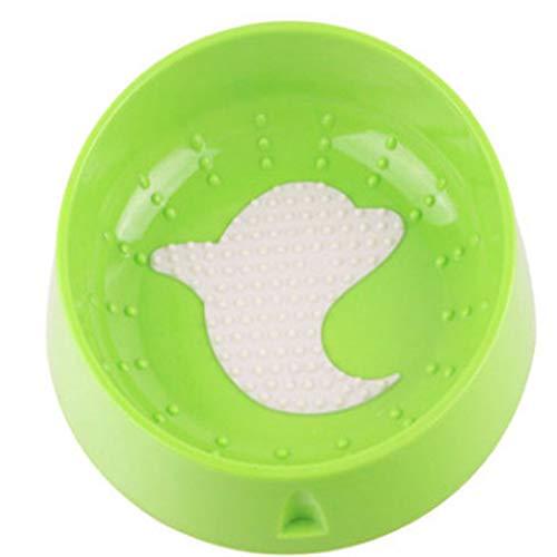 Snoep Kleur Kat Hond Bowl Voeding Water Voedsel Oraal Tong Reinigen Anti-Slip Tilt Neck Guard Gezondheid Puppy Feeder Leuke Huisdier Supplies, Groen, Dolfijn