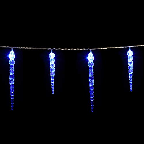 monzana LED Eiszapfenlichterkette I 40 Eiszapfen I blau I inkl Fernbedienung I 8 Leuchtmodi I Timer I Dimmbar I Indoor Outdoor I Weihnachtslichterkette Lichterkette