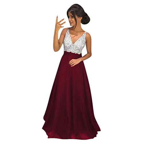 ZHANSANFM Abendkleider Damen Sexy V Ausschnitt Sequin Partykleid Patchwork Chiffon Langes Ballkleid Swing Kleid Brautjungferkleid Abendkleid Elegant für Hochzeit Festlich (2XL, Wein)