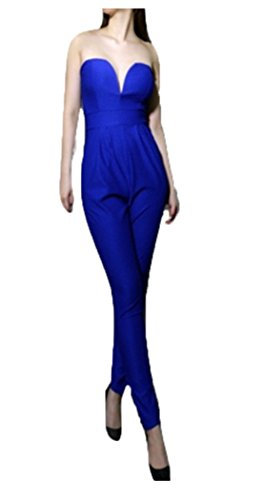 YALI Robe sexy avec col V profond et taille épaule L bleu