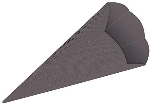 Ursus 9840082 3D Schultüten Rohlinge 6 eckig, Höhe 68 cm, Durchmesser ca. 20 cm, 5 Stück in dunkelgrau