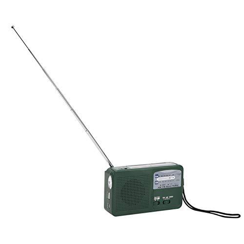 TAKE FANS Manivela de la Linterna - Luz de Emergencia al Aire Libre de plástico Manivela de Mano de Radio Generar Electricidad Linterna multifunción Carga de teléfono móvil