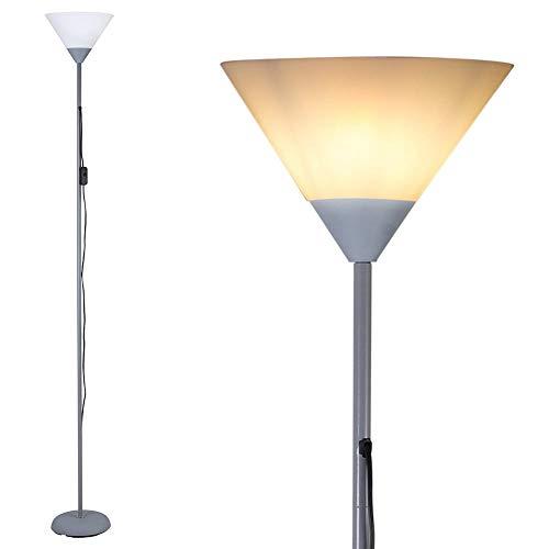 Bakaji Lámpara de pie de diseño moderno de metal con pantalla E27, máx. 40 W, altura 180 cm, para casa, salón, dormitorio (pantalla de cono)