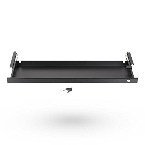 Abschließbare Unterbau-Schublade 850 x 265 x 45 mm schwarz Schreibtischschublade Büroschublade von SO-TECH®