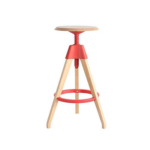 JPX Sgabelli da Bar Sedie Cucina Sgabello da Bar Sedia Girevole Europea in Legno massello Girevole Altezza Regolabile Adatto for Camera da Letto da Bar (Color : Red)