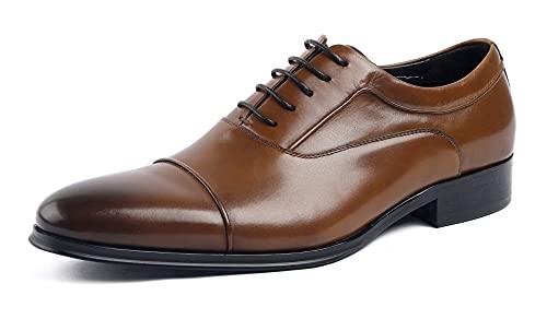 [SERDAOMANI] メンズシューズ レザー ビジネスシューズ レースアップ サドルシューズ ストレートチップフォーマル 本革 革靴 内羽根 紳士靴 ラウンドトゥ 履き心地 ドレスシューズ ウエスタン オフィス ブラック ブラウン294-16 (ブラウ