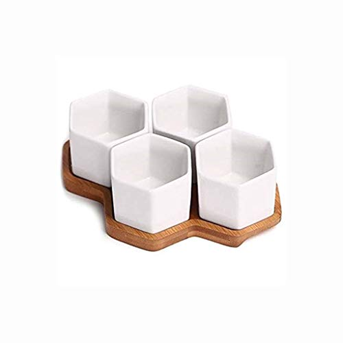 QPLKKMOI Succulent Planter Pot with Drainage Tray Multipurpose Bonsai, Hexagonal Bamboo Tray Porcelain Set
