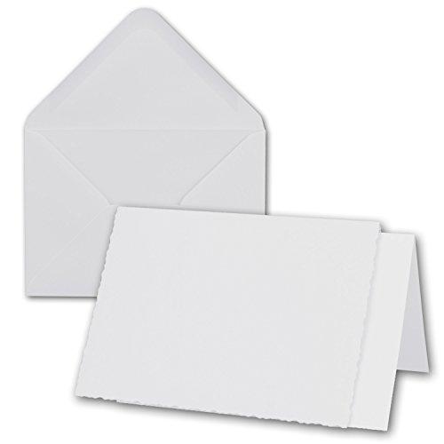 50x weißes DIN A6 Falt-Karten-Set mit Bütten-Rand-Schnitt & Brief-Umschlägen & Einlege-Blätter I 10,4 x 14,8 cm I Papier-Bastel-Set inklusive hochwertiger Box I Gustav NEUSER®
