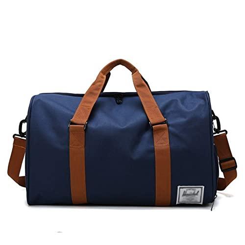 BERJMA Bolsa de deporte para gimnasio Bolsa de viaje Oxford Bolsa de equipaje de mano de tela para damas Bolsa de fin de semana Bolsa de viaje con compartimento para zapatos azul