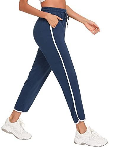 Sykooria Pantalon Chandal Mujer Algodón con Bolsillos y Cordón de Cintura Elástica Pantalon Deporte Mujer para Running Fitness Yoga Gym,Azul,XXL
