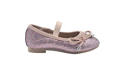 bebe Toddler Girls Ballet Flats 8 M US Toddler Elastic Strap Glitter Mary Jane Sandals Multi Blush