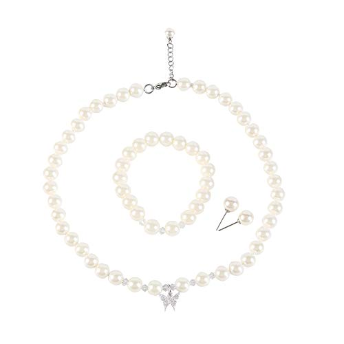 LEILE Faux Crystal Glass Imitation Pearls Necklace Bracelet Earring Diamond Pendant Jewelry 3 set For Mother Little Girl Kids (8mm White 14.5in Butterfly)
