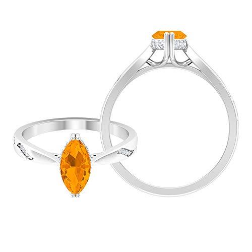 1.25 CT creado anaranjado zafiro marquesa solitario anillo con moissanita (calidad AAAA), 14K Oro